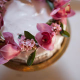 A beautiful vintage wedding cake with flowers Royalty Free Stock Photography