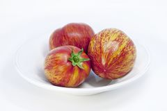 Beautiful vintage white porcelain plate. Ripe motley tomatoes with unusual natural pattern. stock photos