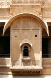 Beautiful Vintage Window. The beautiful Window made of golden limestone in Golden Fort in Jaisalmer, Rajasthan India royalty free stock photo