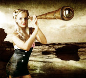 Beautiful Vintage Woman With Steampunk Telescope. Artistic Aged Grunge Brown Image Of A Beautiful Young Woman Holding A Telescope With A Human Eye In Place Of Stock Photo