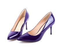 Beautiful violet classic women shoes isolated Royalty Free Stock Image