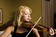 Beautiful Violinist Stock Photography