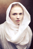 Beautiful virgin in white cape Royalty Free Stock Photos