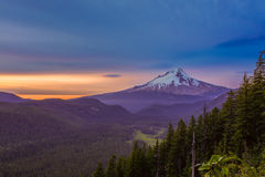 Beautiful Vista of Mount Hood in Oregon, USA. Majestic View of Mt. Hood on a bright, colorful sunset during the summer months royalty free stock images