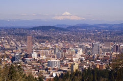 Beautiful Vista of Portland, Oregon. View of Portland, Oregon from Pittock Mansion Stock Photo