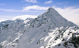 Beautiful vista of snow covered mountain peaks Royalty Free Stock Photo