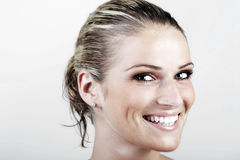 Beautiful vivacious blond woman with wet hair Royalty Free Stock Photos
