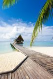 Beautiful vivad over beach with the water villas Royalty Free Stock Images
