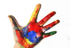 Beautiful vivid multicolored woman hand. S in fresh paints Royalty Free Stock Photography