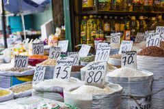 Beautiful vivid oriental market with bags full of various spices Royalty Free Stock Images