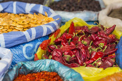 Beautiful vivid oriental market with bags full of various spices Royalty Free Stock Photography