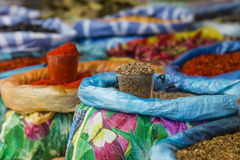 Beautiful vivid oriental market with bags full of various spices Royalty Free Stock Photos