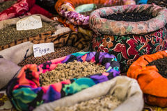 Beautiful vivid oriental market with bags full of various spices Stock Photo