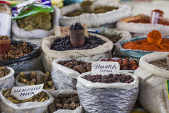 Beautiful vivid oriental market with bags full of various spices Stock Photography