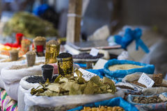 Beautiful vivid oriental market with bags full of various spices Royalty Free Stock Photo