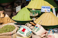 Beautiful vivid oriental market with baskets full of various spi Stock Photo
