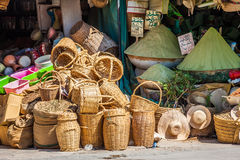 Beautiful vivid oriental market with baskets full of various spi Royalty Free Stock Image