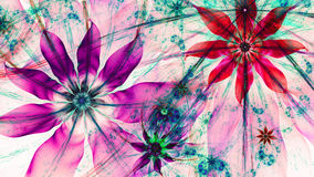 Beautiful vividly colored modern flower background in green,pink,red,blue colors. Beautiful modern high resolution flower background with a detailed flower stock illustration