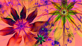 Beautiful vividly colored modern flower background in green,pink,red,purple,yellow colors. Beautiful modern high resolution flower background with a detailed stock illustration