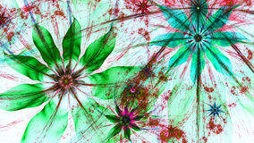 Beautiful vividly colored modern flower background in green,red,cyan colors Stock Image