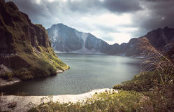 Beautiful volcanic lake in the crater royalty free stock image