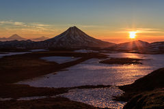 Beautiful volcanic landscape: sunrise over Volcano Stock Image