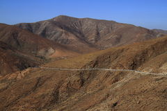 Beautiful volcanic mountains . Panoramic view on Fuerteventura Royalty Free Stock Image