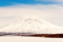 Beautiful volcano in the winter Royalty Free Stock Images