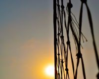 Volleyball nets with afternoon sunlight stock photograph stock photography