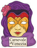 Beautiful Volto Mask with Purple Silks Ready for Venice Carnival, Vector Illustration. Poster with colorful female volto mask with delicate gilded details and Stock Image