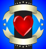 Beautiful voluminous glamor sign love heart on a contrasting blu. E background with bright golden ribbons Stock Images