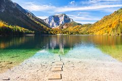 Beautiful Vorderer Langbathsee lake in Austrian Alps. Stock Photography