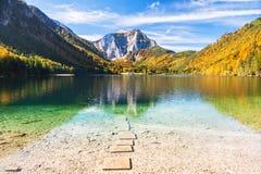 Beautiful Vorderer Langbathsee lake in Austrian Alps. Autumn landscape Stock Photography