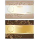Beautiful Voucher Card Set, Vector Illustration Stock Photos