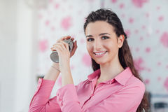 Beautiful waitress with cocktail shaker royalty free stock images