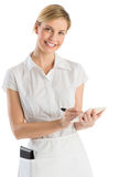 Beautiful Waitress With Order Pad And Pen. Portrait of beautiful waitress with order pad and pen isolated over white background Stock Photos