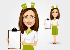 Beautiful waitress pointing to menu Royalty Free Stock Photography