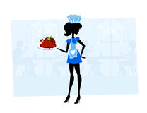 Beautiful Waitress serving a chicken Royalty Free Stock Photography