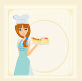 Beautiful waitress with a tray. Royalty Free Stock Image