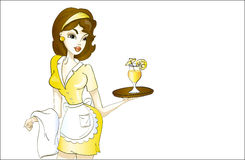 Beautiful waitress in yellow uniform with cocktail Stock Image