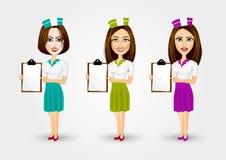 Beautiful waitresses pointing to menu Royalty Free Stock Photos