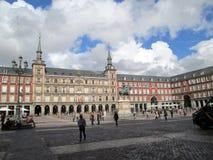 Beautiful walk through the Plaza Mayor of Madrid Spain Europe. Beautiful walk through the Plaza Mayor of Madrid SpainnIn the center equestrian statue of Felipe Stock Photos