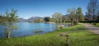Beautiful walkway along lake tegernsee in may Stock Photography