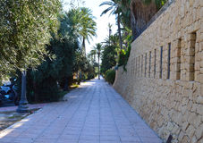 A Beautiful Walkway Close To Alicante Harbour Royalty Free Stock Photo