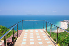 Beautiful walkway viewpoint in front of beach and sea at Koh Larn island samae beach Pattaya Royalty Free Stock Photo