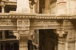 Beautiful wall carving at adalaj vaw(step well) near ahmedabad, india royalty free stock photo