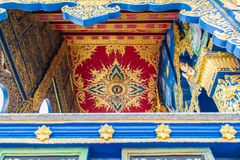 Beautiful wall and ceiling paintings in thai fine art pattern at Wat Rong Suea Ten Temple, also known as the Blue Temple, locate a. T Chiang Rai province Stock Photo