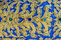 Beautiful wall and ceiling paintings in thai fine art pattern at Wat Rong Suea Ten Temple, also known as the Blue Temple, locate a royalty free stock photography