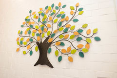 Beautiful wall decoration with colorful leaves tree Royalty Free Stock Image