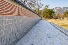 Beautiful wall in Gyeongbok Palace Stone wall. Seoul ,Korea Royalty Free Stock Image
